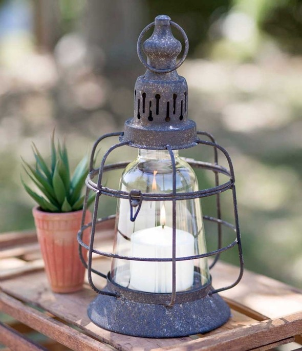 CTW Home Collection Antiqued-Black Metal Lighthouse Candle Lantern