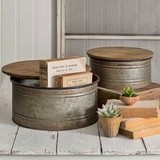 CTW Home Collection Decorative Metal Bins with Wood Lids (Set of 2)