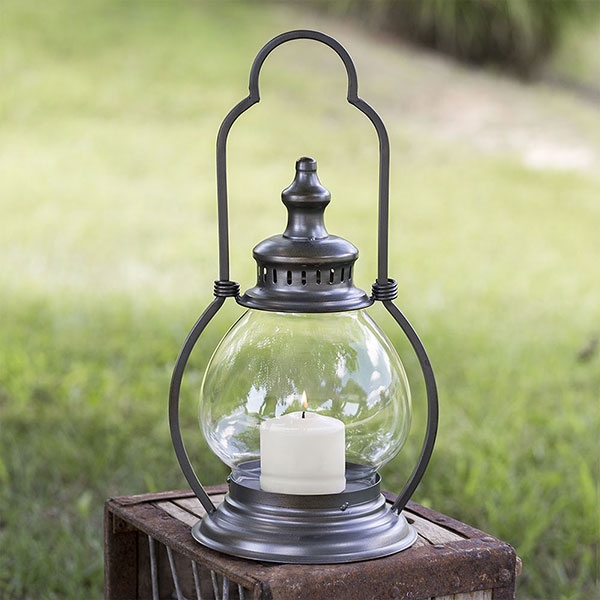 CTW Home Collection Small Gunmetal Steeple Lantern with Globe Chimney