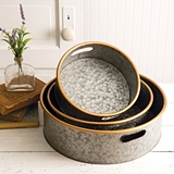 CTW Home Collection Set of Three Round Metal Bins with Brass Rims