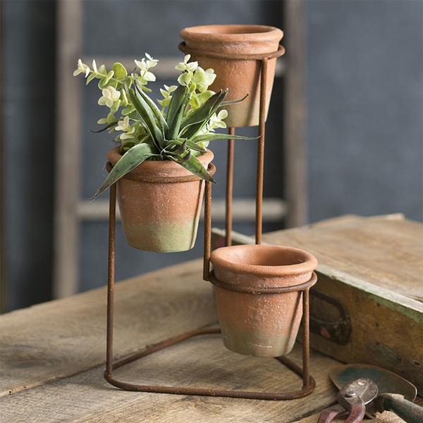 CTW Home Collection Three-Tiered Metal Planter with Terra Cotta Pots