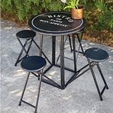 CTW Home Collection Bistro-de-Paris Folding Metal Table with 4 Stools