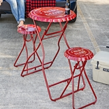 CTW Home Collection 'Old Glory' Folding Red-Metal Table with 2 Stools