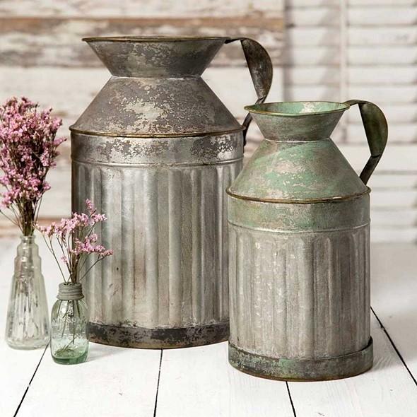 CTW Home Collection Vintage-Look Galvanized-Metal Milk Jugs (Set of 2)