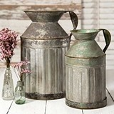 CTW Home Collection Vintage-Look Galvanized-Metal Milk Jugs (Set of 2)