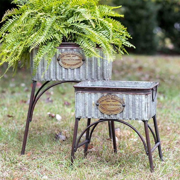 CTW Home Collection Set of 2 Galvanized-Metal Poland Tubs with Stands