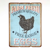 CTW Home Collection Farm Fresh Free Range Eggs Wood Wall Sign