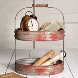 CTW Home Collection Two-Tier Red Distressed-Metal Serving Caddy