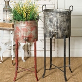 CTW Home Collection Set of 2 Corrugated-Metal Spigot Tubs with Stands