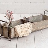 CTW Home Collection Distressed Metal Divided Tray/Planter w/ Songbird