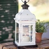 CTW Home Collection Metal Arabesque Lantern with Glass Panels