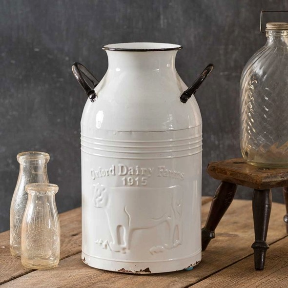 CTW Home Collection 'Oxford Dairy Farms' White-Enameled-Metal Milk Can