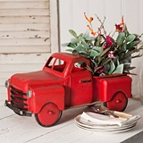 CTW Home Collection Red Metal Retro Pickup Truck Garden Planter