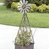 CTW Home Collection Large Metal Windmill Planter with Trellis