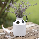 CTW Home Collection Antiqued-White-Metal Annabelle Container w/ Handle