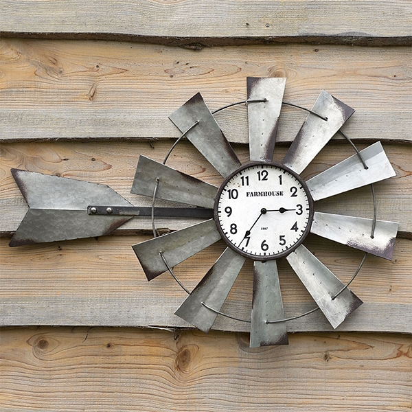 CTW Home Collection Farmhouse-Style Metal Long Windmill Wall Clock