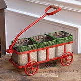 CTW Home Collection Red Metal Holiday Wagon with Three Galvanized Bins