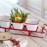 CTW Home Collection Red Metal Sleigh Caddy with Three Enameled Bins