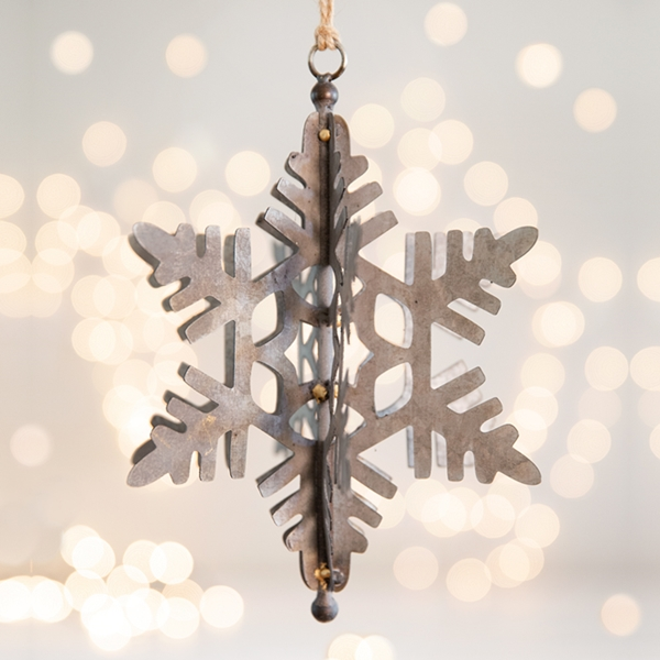 CTW Home Collection Blizzard Snowflake Metal Ornaments (Box of 2)