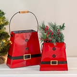 CTW Home Collection Set of Two Santa Suit Buckets with Folding Handles