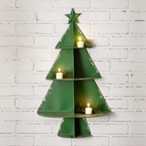 CTW Home Collection Green-Painted Metal Christmas Tree Wall Display