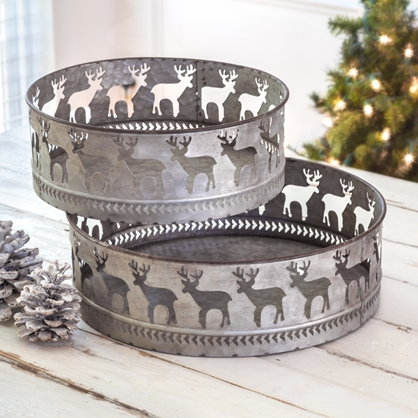 CTW Home Collection Set of Two Round Cutout Reindeer Motif Metal Trays