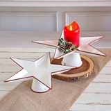 CTW Home Collection Set of Two Star-Shaped Metal Stands with Red Trim
