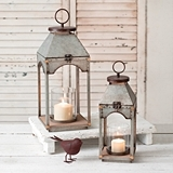 CTW Home Collection Galvanized-Metal Lanterns w/ Wood Bases (Set of 2)