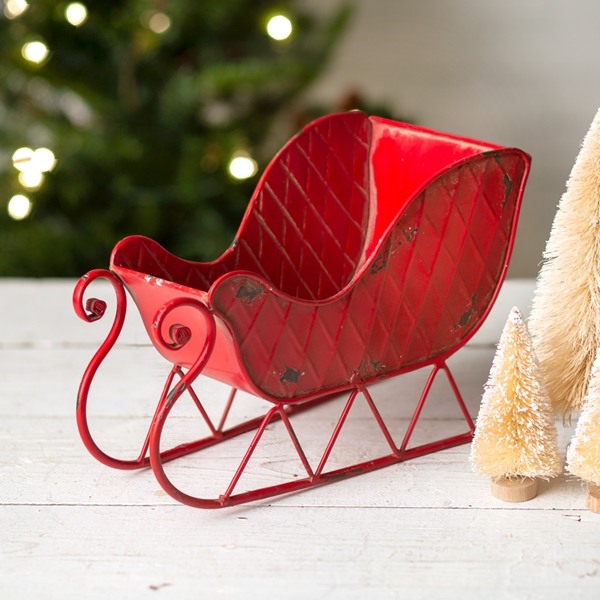 CTW Home Collection Vintage-Look Antiqued-Red-Metal Santa Sleigh