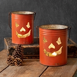 CTW Home Collection Halloween Jack-O-Lantern Metal Buckets (Set of 2)
