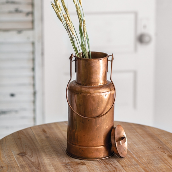 CTW Home Collection Copper Storage Container Vase with Lid and Handle
