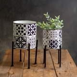 CTW Home Collection Set of 2 Metal Mosaic Design Planters with Stands