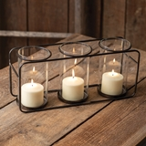 CTW Home Collection Metal Frame Three-Glass Pillar Candle Holder