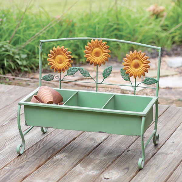 CTW Home Collection Sunflower Motif Green-Painted Metal Bench Planter