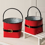 CTW Home Collection Set of Two Large Santa Suit Red-Metal Buckets