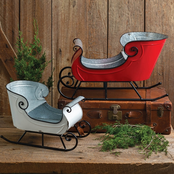 CTW Home Collection Painted Galvanized-Tin Holiday Sleighs (Set of 2)