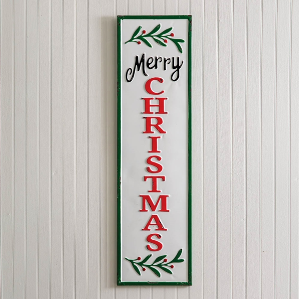 CTW Home Collection Enameled-Metal Merry Christmas Vertical Wall Sign