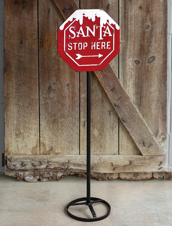 CTW Home Collection Red & White Enameled-Metal 'Santa Stop Here' Sign