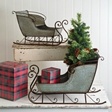 CTW Home Collection Detailed Galvanized-Metal Sleighs (Set of Two)