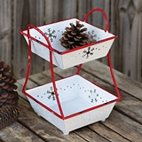 CTW Home Collection Enameled-Metal Snowflake Motif Two-Tier Tray