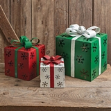 CTW Home Collection Set of Three Metal Christmas Snowflake Gift Boxes