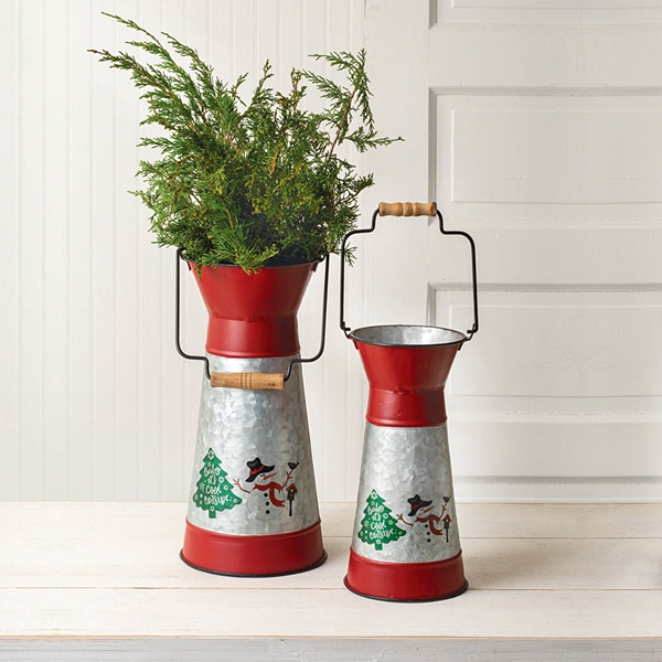 CTW Home Collection Two Holiday Scene Metal Containers w/ Wood Handles