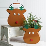 CTW Home Collection Set of Two Reindeer Motif Metal Buckets (2 Sizes)