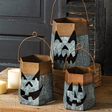 CTW Home Collection Set of 3 Metal Jack-O-Lantern Halloween Luminaries