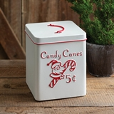 CTW Home Collection White and Red Enameled Metal Candy Cane Container