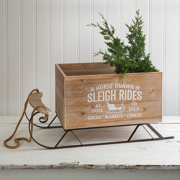 CTW Home Collection Large Metal Sleigh with Wood Box Compartment