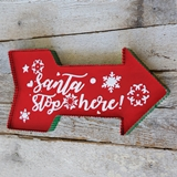 CTW Home Collection Red Enameled-Metal Santa Stop Here Arrow Wall Sign