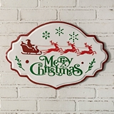CTW Home Collection Merry Christmas White Enameled-Metal Wall Sign