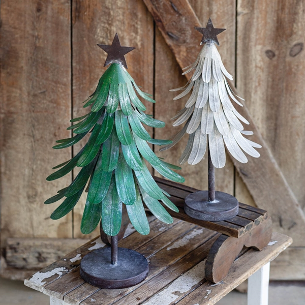 CTW Home Collection Set of Two Painted-Metal Christmas Trees