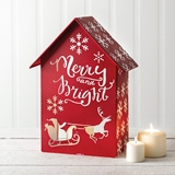 CTW Home Collection 'Merry and Bright' Red-Enameled-Metal Luminary